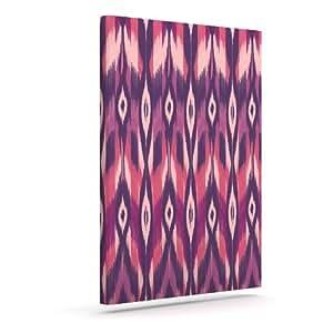 Kess InHouse Amanda Lane 紫色Ikat 粉红色薰衣草户外帆布墙壁艺术,20.32 x 25.4 厘米