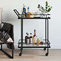 Nathan James Sally 拉杆或推车,适用于茶或鸡尾酒,2层玻璃和金属,黑色