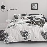 Xanlenss 轩蓝仕 美式宜家风纯棉喷气贡缎活性床单四件套 40S全棉植物印花套件 13372高密度亲肤AB版床品 (羽叶, 1.5米床(被套200*230)