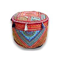 印度手工软垫复古拼接软垫家居客厅装饰脚凳套,刺绣椅套 33.02x45.72 厘米。