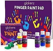 Glokers 儿童手指画套装 - 6 种*可洗儿童颜料,27.94x43.18cm 手指绘画板带 50 张