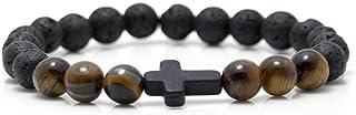 jenhianeck 时尚 religion 十字架8mm 熔岩珠弹性手链手镯7–20.3cm