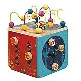 B.toys 水底动物园活动木立方 多功能益智木制百宝箱 轨道串珠 认识图形数字 1-3岁 小号水底动物园 29.5*29*36cm