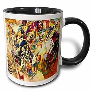 3drose florene 著名艺术–PICTURE OF 抽象1923kadinsky 画–马克杯 黑色/白色 11-oz Two-Tone Black Mug