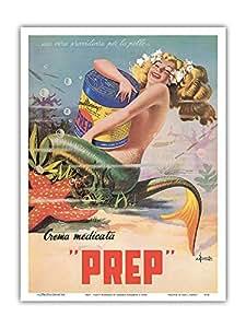 Happy Mermaid PREP 皮肤奶油广告海报 Erasmo Ferrante 1950 艺术印刷品 多种颜色 9 x 12 in PRTA7374