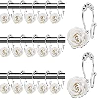 OLIYA 12件套 白玫瑰装饰 浴帘挂钩 树脂+不锈钢环 双钩 漂亮风格 浴室淋浴挂钩