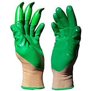 """Honey Badger Gardening Gloves for Digging & Planting- No More Worn Out Fingertips - Claws on LEFT Hand - Olive Green - Nitrile Olive Green/Gray Womens Small/Mens X-Small - 7"""""""