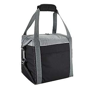 保温冷藏袋,柔软侧边午餐袋带罐架,便携式旅行冷藏手提袋适合男士女士到海滩、露营、野餐、远足、烧烤 灰色 16 Can Collapsible cooler20180404