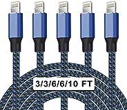 UNEN MFi 认证 5 件装 [3/3/6/6/10 英尺] 尼龙编织 iPhone 充电器闪电数据线快速充电和同步长线兼容 iPhone 11Pro Max/11Pro/11/XS/Max/XR/X/8/8P/7