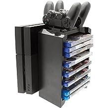 Venom Games 存储塔 & Twin 充电器包括2 个双重振 4 个控制器的充电器 & 可存储多达 12 个 PS4 游戏或蓝光播放