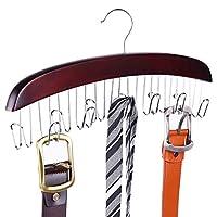 Ohuhu 皮带挂架,12 个钩子带收纳袋,适用于衣橱、腰带架、可固定腰带、领带、围巾、服装、男式配饰、男士女士、结实的硬木、胡桃木