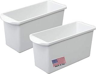 Tribello 冰格 冰桶 冰桶 - 白色塑料*储存容器,收纳托盘,带手柄,冰箱/洗碗机适用,不含 BPA / 邻苯二甲酸盐 - 美国制造 - 13 长 x 5 宽 (2 件装)