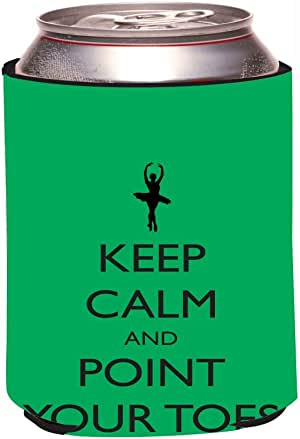 """Rikki Knight RKws-KOOZIE-44303""""Keep Calm and Point your Toes Green Ballet Design"""" Beer Can/Soda Drink Cooler Koozie"""