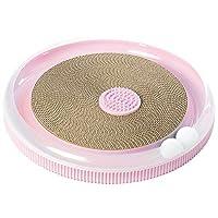 PawsMark 粉色 4 合 1 互动圆形猫爬架,休息室,玩具和刷子