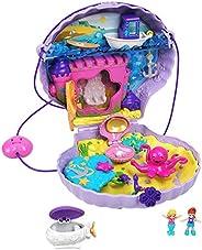 Polly Pocket 小巧力量貝殼錢包小巧帶可穿戴肩帶,樂趣海底特色,Micro Polly 和 Lila 美人魚玩偶,2 個配件和貼紙;適合 4 歲及以上兒童