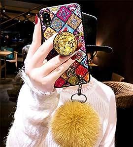 "iPhone 6s * TPU 手机壳,豹纹孔雀复古风格蓬松兔毛毛毛绒球手机壳,适用于 Apple iPhone 6/6S 4.7 英寸 iphone Xs Max 6.5"" TPU Ball-Colorful"