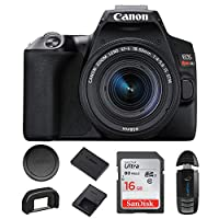 Canon 佳能 EOS 250D / Rebel SL3 数码单反相机机身 w/Canon EF-S 18-55mm f/3.5-5.6 镜头带像素基础套装 - 国际模型