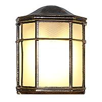 七源户外防水壁灯LED半边壁灯 阳台过道壁灯楼梯外墙壁灯露台壁灯(六角半边壁灯) (带13W LED玉米灯泡, 古铜色)