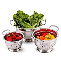 OVENTE 不锈钢滤锅 3 件套厨房套装,1.5,3 夸脱,多用途,用于筛面粉、意大利面过滤、排水蔬菜和水果等,银色 (C46263S)