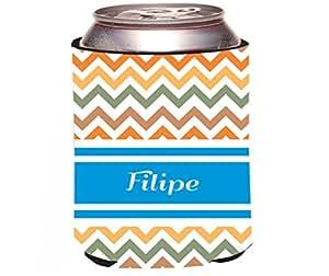 "Rikki Knight""Filipe"" Blue Chevron Name Design Beer Can/Soda Drinks Cooler Koozie"