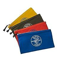 实用包,椭圆形拉链工具袋,橙色,蓝色,黄色,12.5 英寸帆布,4 件Klein 工具 5140 4件装 5140
