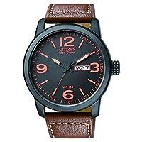 Citizen 西铁城 男式 Eco-Drive手表 配黑色指针表盘和棕色皮革表带 BM8475-26E,镀上黑色离子/棕色