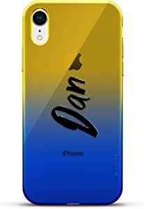 奢华设计师,3D 印花,时尚,高端,高端,Chameleon 变色效果手机壳 iPhone XrLUX-IRCRM2B-NMDAN1 NAME: DAN, HAND-WRITTEN STYLE 蓝色(Dusk)