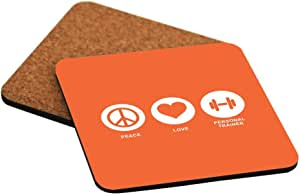 Rikki Knight Peace Love Personal Trainer Orange Color Design Cork Backed Hard Square Beer Coasters, 4-Inch, Brown, 2-Pack