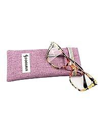 soolala 女式时尚设计师猫眼眼镜框架带金属武器