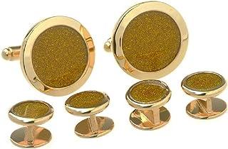 MRCUFF 金色钻石粉尘燕尾服,一对袖扣和铆钉燕尾服,礼盒和抛光布