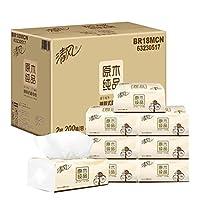 清风 原木纯品抽取式面巾纸抽纸 迷你2层200抽*24包 整箱装(亚马逊自营商品, 由供应商配送)