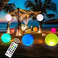 Ibcccndc LED 沙滩球,泳池玩具 16 色发光球 16 英寸(约 40.6 厘米)充气 LED 浮动泳池灯,带遥控器,非常适合海滩婚礼派对、花园、后院、草坪、露台装饰(1 件)