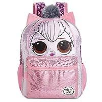 L.O.L. Surprise Kitty Queen 粉色/银色亮片背包,带 3D 耳朵和绒球