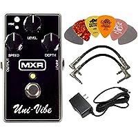 MXR M68 Uni-Vibe Chorus Vibrato 效果踏板套装,带 AC/DC 适配器电源,适用于 9 伏 DC 1000mA,2 个金属端吉他接线和 6 个 Dunlop 吉他拨片
