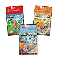 Melissa & Doug On the Go Water Wow! 水画笔,可重复使用的Water-Reveal水画本,3-pk,农场、狩猎、海洋套装