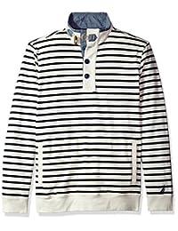 Nautica 男士长袖 1/2 粒扣角条纹运动衫