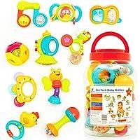 ZenTeck 互动式婴儿摇铃和牙胶套装,带储物罐 [10 件] – 不含双酚 A,*,儿童*,优质一流 — 宝宝感官,教育和发展摇铃,新生儿