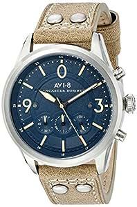 AVI-8 男式 AV-4024-05 兰卡斯特飞行员不锈钢手表米色真皮表带