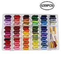 YOKOYAMA 刺绣丝线十字绣线套件,100 个彩虹围巾,刺绣整理收纳盒,39 件十字绣工具