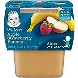 Gerber 嘉宝 2段食品,苹果草莓香蕉,4盎司(113克)桶,2桶(共计8件)