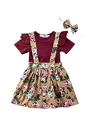 女婴短袖褶皱连身衣吊带花卉裙套装