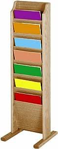 Wooden Mallet 7-Pocket Cascade Free-Standing Magazine Rack, Light Oak