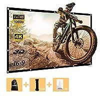 84 英寸投影仪屏幕便携式屏幕适用于室外室内电影院圣诞电影游戏派对 4K 全高清褶皱免费16 9 投影屏幕带 12 米绳,16 个粘钩和袋子