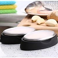 Addoil 椭圆不锈钢香皂(带底托精装) 厨房不锈钢去味皂 去蒜去鱼腥味除腥去除异味洗手皂 向往的生活去味肥皂 环保方便携带 (2个装)