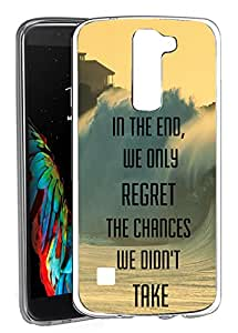 LG K10 - 透明塑料手机壳 Clear - Regret The Chances Didn't Take Philosophical Hipster Quote