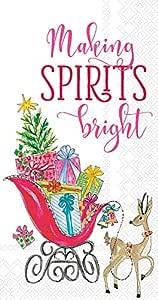 波士顿国际客服毛巾纸巾餐巾 Making Spirits Bright 8.5 x 4.5-Inches