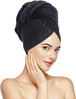 SUNLAND 女式超细纤维发毛巾 2 件装 *吸水速干魔术发巾 适用于干燥长发柔软大尺寸 60.96 厘米 X 109.22 厘米 黑色