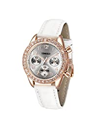 Time100 时光一百 时尚闪钻 石英女士手表 商务多功能皮 W502PTAI98L.02A(亚马逊自营商品, 由供应商配送)