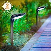 Litake 太阳能路灯户外太阳能花园路灯防水2合1太阳能壁灯景观照明户外太阳能灯适用于草坪庭院走道车道,2件装