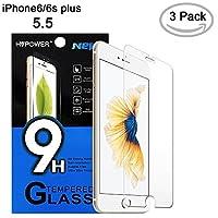 iPhone 6 屏幕保護膜,HV【鋼化玻璃】0.26mm AGC 玻璃屏幕保護膜適用于 iPhone 6 Plus 和 iPhone 6s plus 5.5(3 件裝))